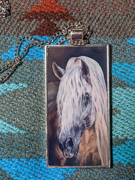 """Merlin"" equine art necklace by Melissa Tohlakai"