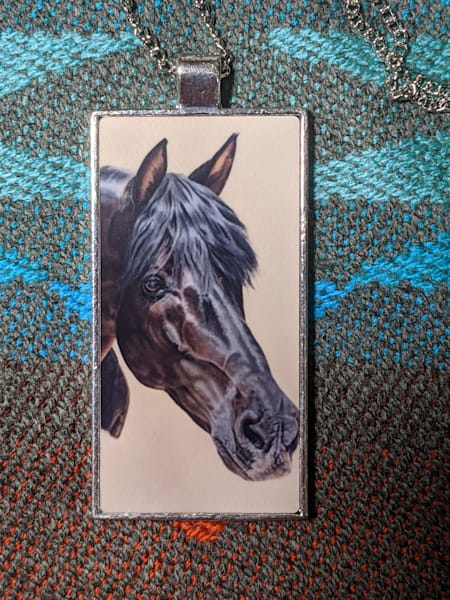 Andalusian Pendant and necklace by equine artist Melissa Tohlakai
