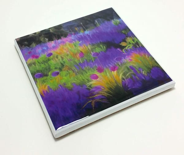 Coaster (Hand Made)   Lavender And Allium Field Ii | smalljoysstudio