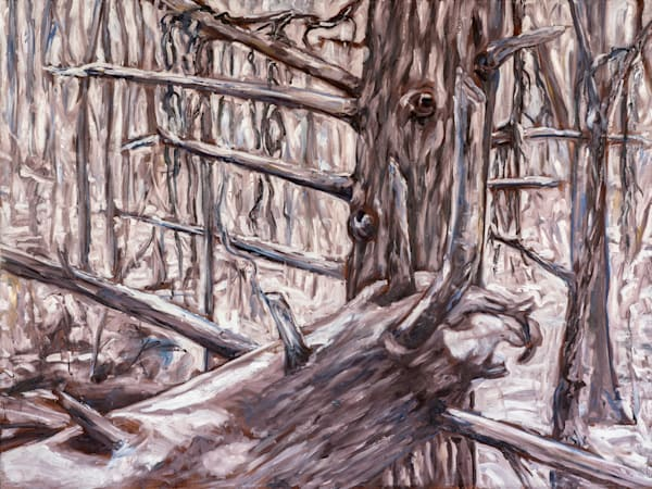 Spirit of the Winter Forest, original painting by Janet Jardine, 36x48 inches, oil on canvas