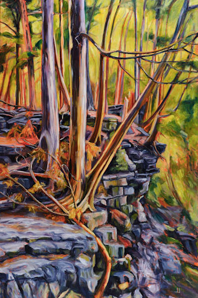 Escarpment Hangout, original painting by Janet Jardine featuring a scene coming up the stairs from the falls at Conservation Halton's Hilton Falls Conservation Area, and along the Bruce Trail 24x36 inches, oil on canvas
