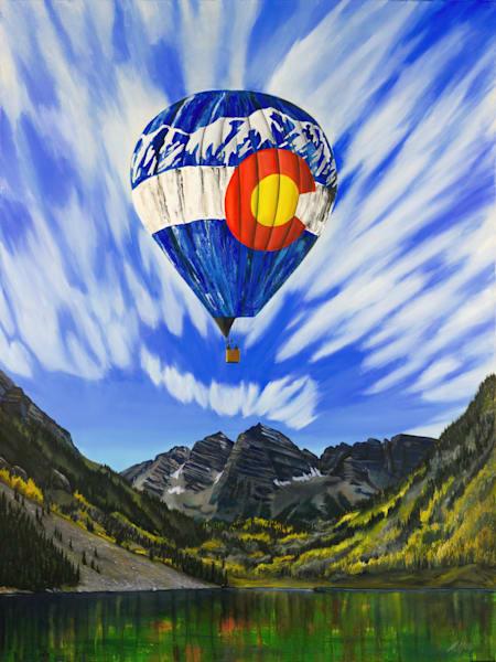 Aspen Balloon | Original Mixed Media Painting Art | MMG Art Studio | Fine Art Colorado Gallery