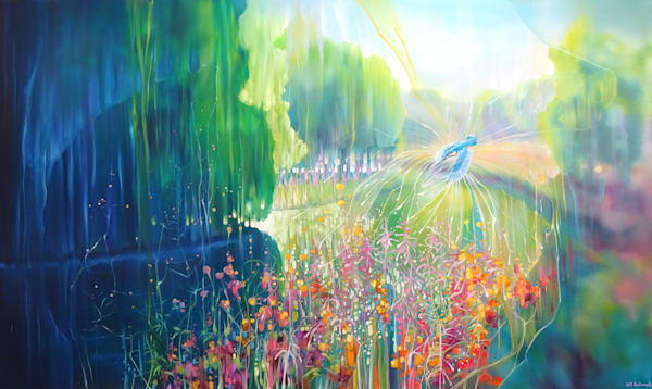 large oil painting of an exuberant river landscape with a kingfisher