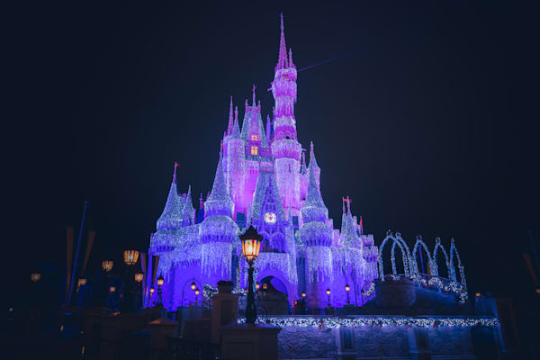 Christmas Night At Cinderellas Castle Photography Art | William Drew Photography