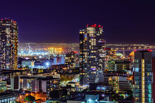 Downtown San Diego High View Fine Art Print by McClean Photography