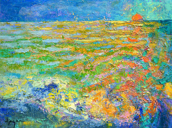 Abstract Water Ocean Original Oil Painting by Dorothy Fagan