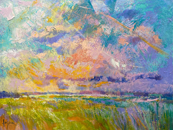 Beautiful Marsh Painting, Original Oil on Canvas by Dorothy Fagan