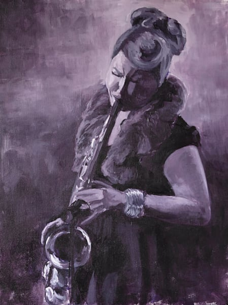 Prints of a painting of Alison Young, Toronto saxophone player, by Burlington Artist Janet Jardine