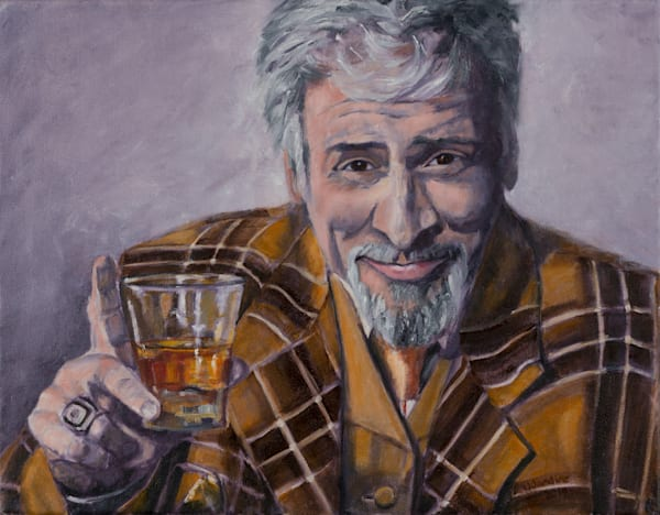 Scotchish. Jaymze Bee - or Jaymz Bee with Scotch in a Scocth-ish Suit, original painting by Janet Jardine