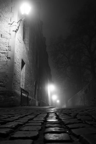 Brasenose Lane Oxford on a foggy night