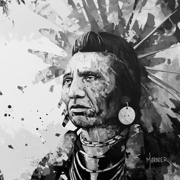 Chief Eagle Black & White' Marnier, Art, High-Quality HD Print