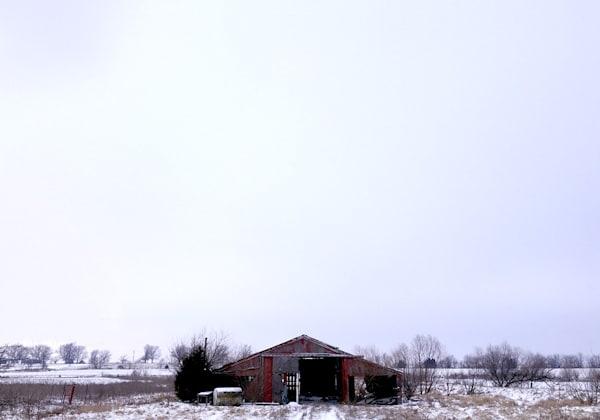 Ks Barn In Winter   Art Show Matted Art | John Knell: Art. Photo. Design