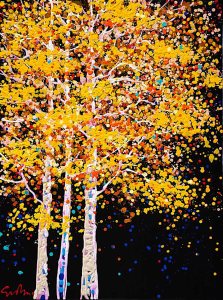 "Simon Bull Available Original Painting - ""Three Aspens"""