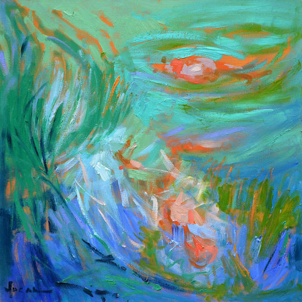 Koi Pond Painting, Original Oil by Dorothy Fagan