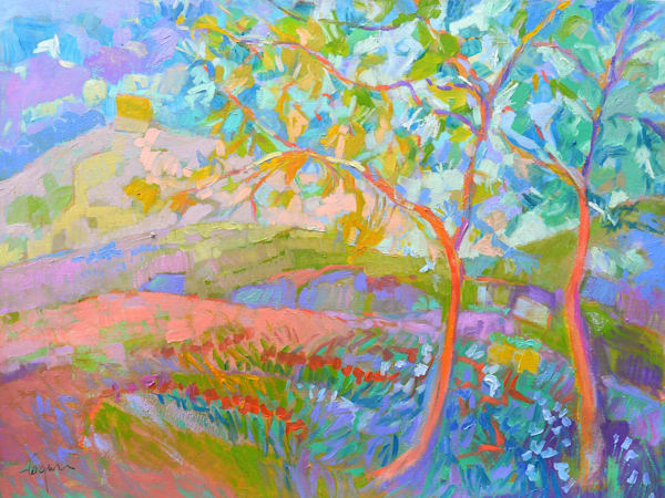Colorful Landscape with Trees Original Oil Painting by Dorothy Fagan