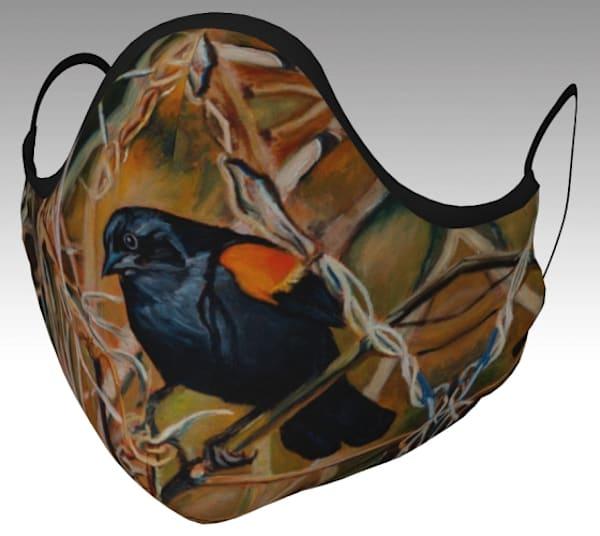 Face Mask featuring The Guard, Red-winged Blackbird (Hendrie Valley, Royal Botanical Gardens, Burlington), original artwork by Janet Jardine