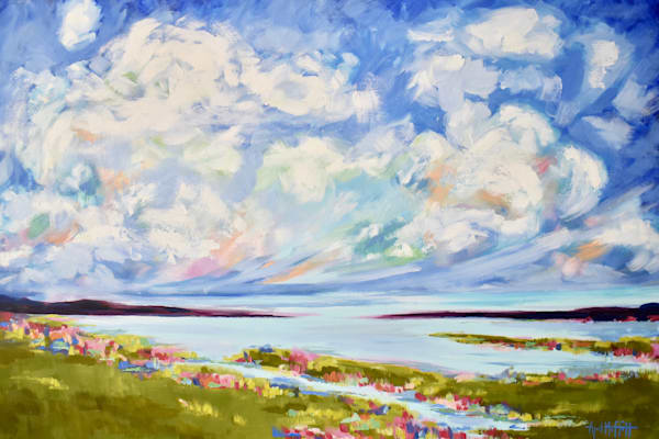 Big Spring Clouds over the Salt Marsh Painting