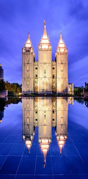 Salt Lake Temple - Night Time Reflection