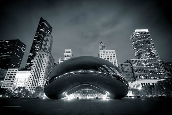 Chicago Bean At Night Black And White Photography Art | William Drew Photography