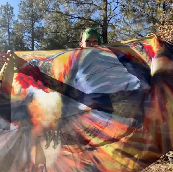 Large 40x70 Helos: Alacrity Silk Scarf   Ans Taylor Art