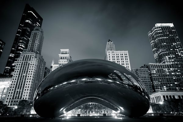Chicago Cloud Gate At Night Black And White Photography Art | William Drew Photography