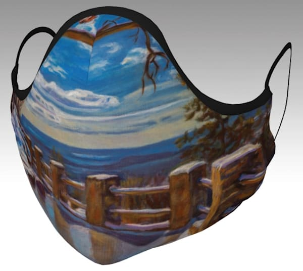 Face mask featuring Mind Your Step! Buffalo Crag Lookout, Rattlesnake Point, a popular painting by Janet Jardine.