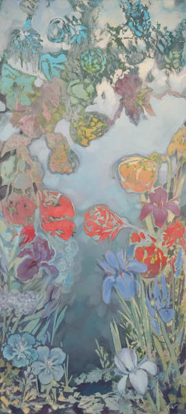 commissioned wax painting of flower garden
