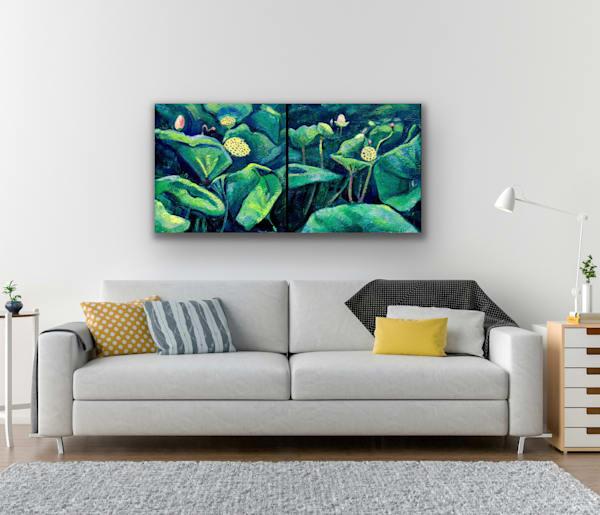 Chanticleer Lotus Encaustic Wax Diptych  Art   Monique Sarkessian Fine Art Gallery and Studio