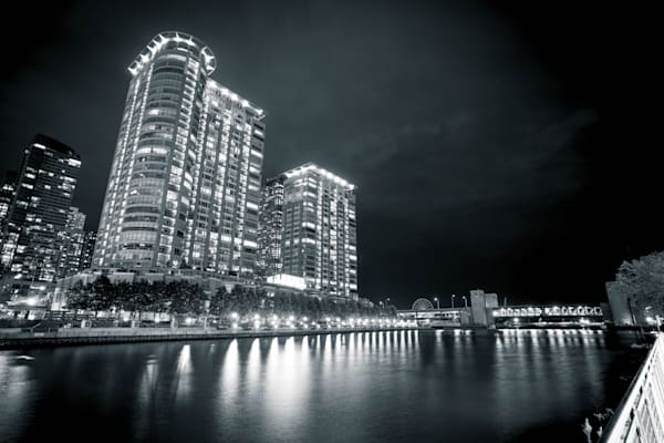 Chicago River And Navy Pier Black And White Photography Art | William Drew Photography