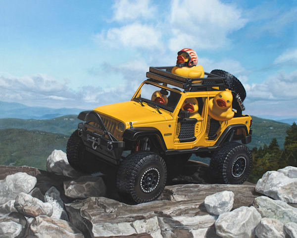 Keep on Ducking print of a Jeep with rubber ducks