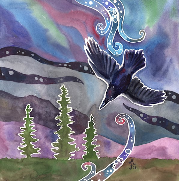 Aurora Raven Mug, Stickers And Cards Art | Amanda Faith Alaska Paintings / Estuary Arts, LLC