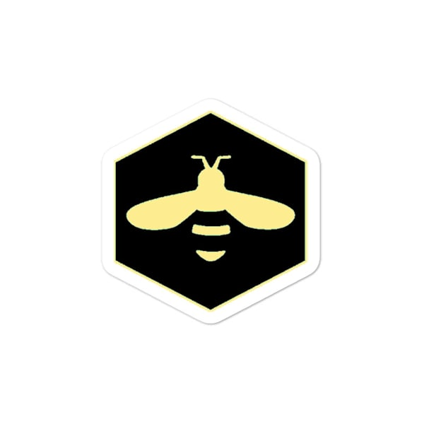 Black And Yellow Bee Logo Bubble Free Stickers | Metaphysical Art Gallery