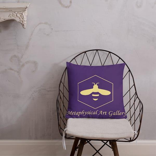 Purple Bee Logo Premium Pillows | Metaphysical Art Gallery