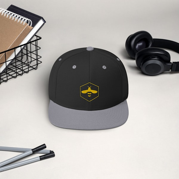 Black And Grey Snapback Hat With Yellow Bee Logo | Metaphysical Art Gallery