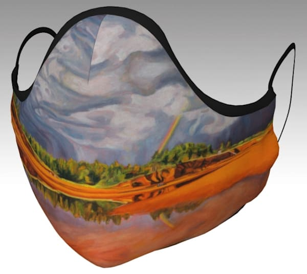 Face Mask featuring The Calm After the Storm, original artwork by Janet Jardine - Cotton