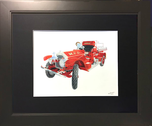 1920 Fire Engine, Original Colored Pencil Painting