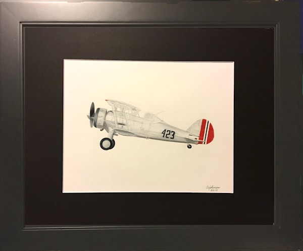 Gloster Gladiator, Original Colored Pencil Painting