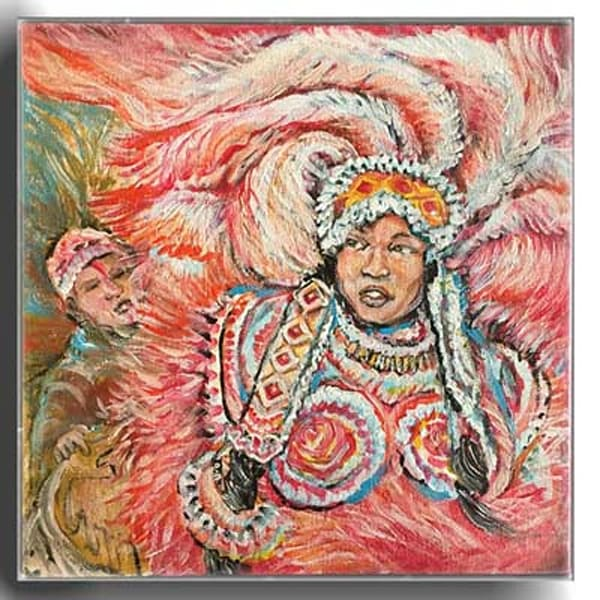 Mardi Gras Indian Queen painted by New Orleans artist Jerome Anderson