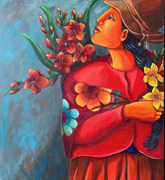 Woman With Flowers Art | womanoftheandes