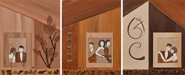 Decorative modern Triptych painting by New Orleans Artist Dianna Kaufman