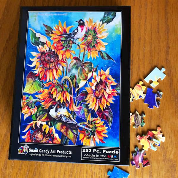 """Late Summer Harvest"" Sunflower Puzzle Art | Snail Candy Art Studio"