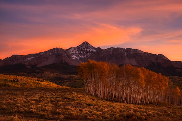 Wilson Peak at sunset with fall colors, near Telluride, Colorado.