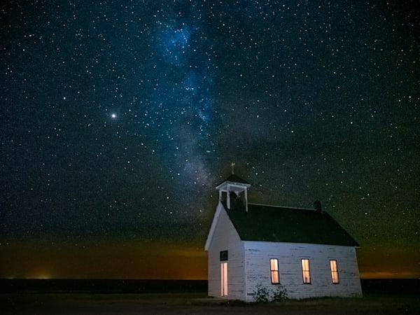 Milky Way over Abbott Church near Lindon, a remote spot on the eastern plains of Colorado.