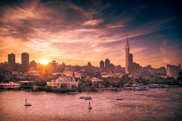 The Sun Sets over the Nile Art Print