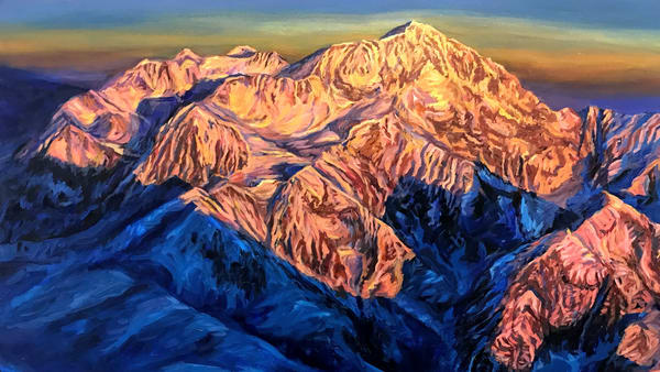 Denali Greeting Card - West Buttress Route Art by Alaska Artist Amanda Faith Thompson