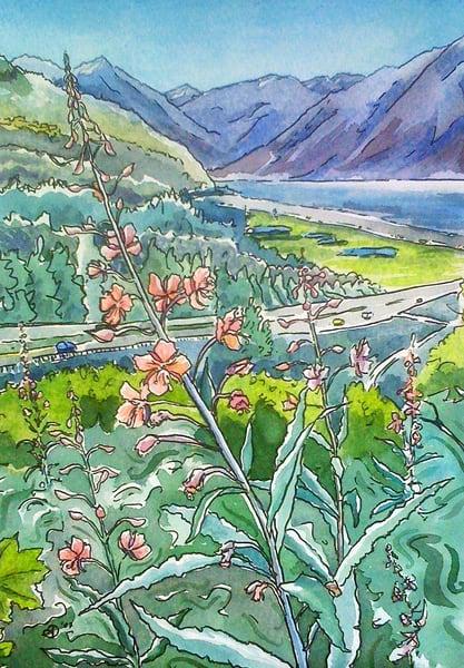 Fireweed Over Turnagain Arm Art | Amanda Faith Alaska Paintings / Estuary Arts, LLC