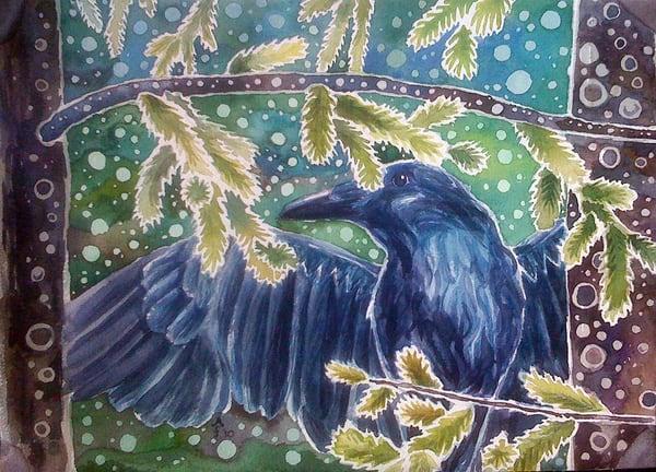 Forest Raven Mug Art | Amanda Faith Alaska Paintings / Estuary Arts, LLC