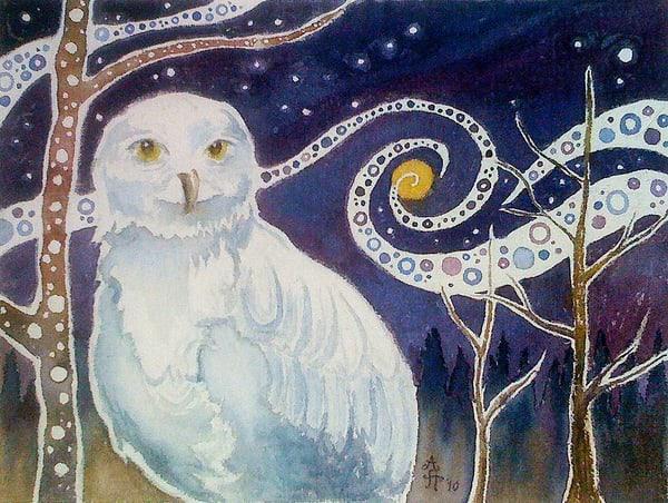 October Owl Mug Art | Amanda Faith Alaska Paintings / Estuary Arts, LLC