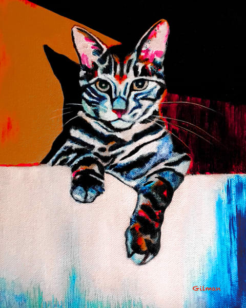 """""""Cat in a Sink - Orange"""" Oil Painting by Emily Gilman Beezley"""