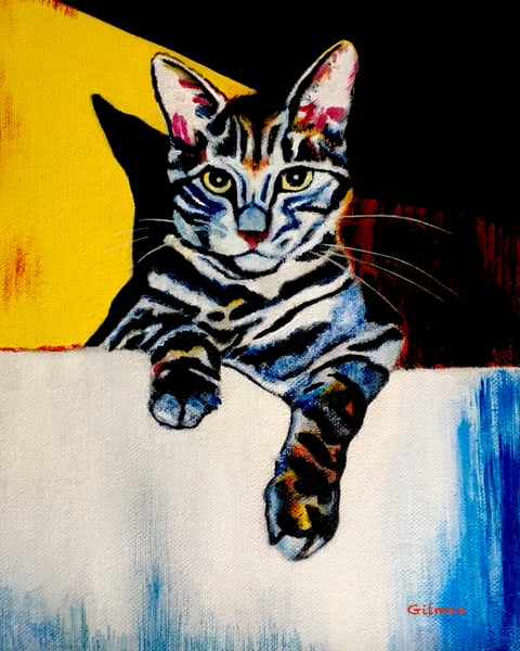 """""""Cat in a Sink - Yellow"""" Oil Painting by Emily Gilman Beezley"""